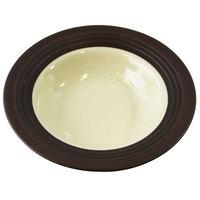Elite Global Solutions DB651GM Durango 10 oz. Antique White & Chocolate Round Two-Tone Melamine Bowl - 6/Case
