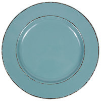 Elite Global Solutions D850T Trestles Vintage California 8 1/2 inch Cameo Blue Round Double-Line Melamine Plate - 6/Case