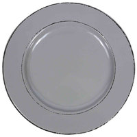 Elite Global Solutions D1025T Trestles Vintage California 10 1/2 inch Gray Round Double-Line Melamine Plate - 6/Case