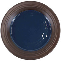 Elite Global Solutions D897GM Durango 9 inch Lapis & Chocolate Round Two-Tone Melamine Plate - 6/Case