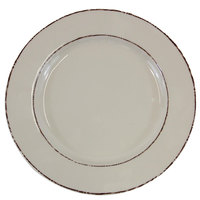Elite Global Solutions D1025T Trestles Vintage California 10 1/2 inch Vanilla Round Double-Line Melamine Plate - 6/Case