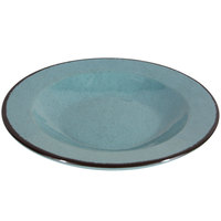 Elite Global Solutions DB878M Mojave Vintage California 12 oz. Cameo Blue Round Crackle Pasta / Soup Bowl - 6/Case
