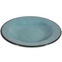 Elite Global Solutions DB878M Mojave Vintage California 12 oz. Cameo Blue Round Crackle Pasta / Soup Bowl
