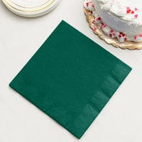 Hunter Green 3-Ply Dinner Napkins, Paper - Creative Converting 593124B - 250/Case