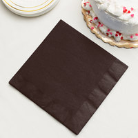 Chocolate Brown 3-Ply Dinner Napkin, Paper - Creative Converting 593038B - 250/Case