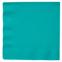 Creative Converting 59111B Tropical Teal 3-Ply Paper Dinner Napkins - 250 / Case