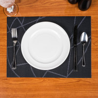 Snap Drape PMCHI720 Cityscape 16 inch x 12 inch Chico Dark Navy PVC Placemat - 12/Pack