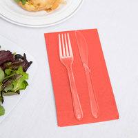 Creative Converting 953146 Coral Orange 3-Ply Guest Towel / Buffet Napkin - 192/Case