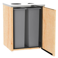 Lakeside 3412HRM Stainless Steel Refuse / Recycling Station with Top Access and Hard Rock Maple Laminate Finish - 26 1/2 inch x 23 1/4 inch x 34 1/2 inch