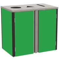 Lakeside 3415 Stainless Steel Refuse / Recycle / Paper Station with Top Access and Green Laminate Finish - 37 1/2 inch x 23 1/4 inch x 34 1/2 inch