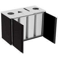 Lakeside 3418 Stainless Steel Refuse (2) / Recycle / Paper Station with Top Access and Black Laminate Finish - 48 1/2 inch x 23 1/4 inch x 34 1/2 inch