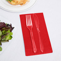 Creative Converting 951031 Classic Red 3-Ply Guest Towel / Buffet Napkin - 192/Case