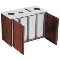 Lakeside 3418RM Stainless Steel Refuse (2) / Recycle / Paper Station with Top Access and Red Maple Laminate Finish - 48 1/2 inch x 23 1/4 inch x 34 1/2 inch