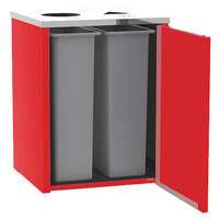 Lakeside 3412 Stainless Steel Refuse / Recycling Station with Top Access and Red Laminate Finish - 26 1/2 inch x 23 1/4 inch x 34 1/2 inch