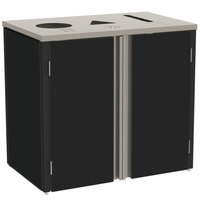 Lakeside 3415 Stainless Steel Refuse / Recycle / Paper Station with Top Access and Black Laminate Finish - 37 1/2 inch x 23 1/4 inch x 34 1/2 inch