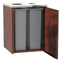 Lakeside 3412 Stainless Steel Refuse / Recycling Station with Top Access and Red Maple Laminate Finish - 26 1/2 inch x 23 1/4 inch x 34 1/2 inch