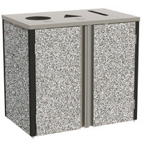 Lakeside 3415GS Stainless Steel Refuse / Recycle / Paper Station with Top Access and Gray Sand Laminate Finish - 37 1/2 inch x 23 1/4 inch x 34 1/2 inch