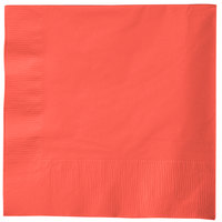 Creative Converting 583146B Coral Orange 3-Ply 1/4 Fold Luncheon Napkin - 500/Case