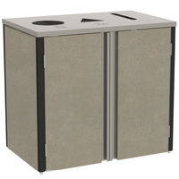 Lakeside 3415 Stainless Steel Refuse / Recycle / Paper Station with Top Access and Beige Suede Laminate Finish - 37 1/2 inch x 23 1/4 inch x 34 1/2 inch