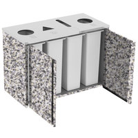Lakeside 3418 Stainless Steel Refuse (2) / Recycle / Paper Station with Top Access and Gray Sand Laminate Finish - 48 1/2 inch x 23 1/4 inch x 34 1/2 inch