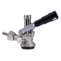 Micro Matic 7485BS D System Beer Keg Coupler with Black Handle with Type 304 Stainless Steel Probe
