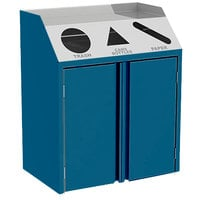 Lakeside 4415BL Stainless Steel Refuse / Recycle / Paper Station with Front Access and Royal Blue Laminate Finish - 37 1/2 inch x 23 1/4 inch x 45 1/2 inch