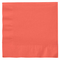Creative Converting 663146B Coral Orange 2-Ply 1/4 Fold Luncheon Napkin - 600/Case