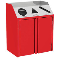 Lakeside 4415 Stainless Steel Refuse / Recycle / Paper Station with Front Access and Red Laminate Finish - 37 1/2 inch x 23 1/4 inch x 45 1/2 inch