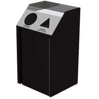 Lakeside 4412B Stainless Steel Refuse / Recycling Station with Front Access and Black Laminate Finish - 26 1/2 inch x 23 1/4 inch x 45 1/2 inch