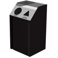 Lakeside 4412 Stainless Steel Refuse / Recycling Station with Front Access and Black Laminate Finish - 26 1/2 inch x 23 1/4 inch x 45 1/2 inch