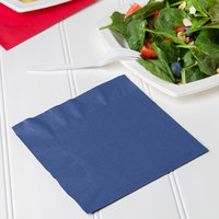 Creative Converting 6691137B Navy Blue 2-Ply 1/4 Fold Luncheon Napkin - 600/Case