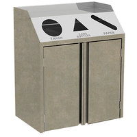 Lakeside 4415 Stainless Steel Refuse / Recycle / Paper Station with Front Access and Beige Suede Laminate Finish - 37 1/2 inch x 23 1/4 inch x 45 1/2 inch