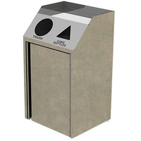 Lakeside 4412 Stainless Steel Refuse / Recycling Station with Front Access and Beige Suede Laminate Finish - 26 1/2 inch x 23 1/4 inch x 45 1/2 inch