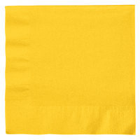 Creative Converting 6691021B School Bus Yellow 2-Ply 1/4 Fold Luncheon Napkin - 600 / Case