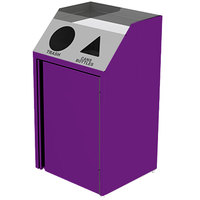 Lakeside 4412 Stainless Steel Refuse / Recycling Station with Front Access and Purple Laminate Finish - 26 1/2 inch x 23 1/4 inch x 45 1/2 inch