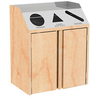Lakeside 4415 Stainless Steel Refuse / Recycle / Paper Station with Front Access and Hard Rock Maple Laminate Finish - 37 1/2 inch x 23 1/4 inch x 45 1/2 inch