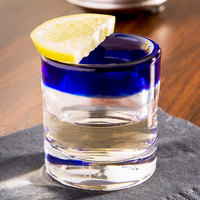 Libbey 92311 Aruba 2.5 oz. Rocks Shot Glass with Cobalt Blue Rim - 24/Case