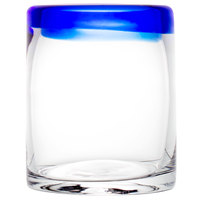 Libbey 92313 Aruba 10 oz. Rocks / Old Fashioned Glass with Cobalt Blue Rim   - 12/Case