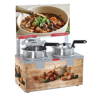 Nemco 6510-T4 Triple Well 4 Qt. Soup Warmer with Header - Single Thermostat