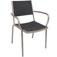 BFM Seating DV351GRTS Cocoa Beach Outdoor / Indoor Stackable Aluminum and Synthetic Wicker Arm Chair