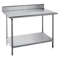 Advance Tabco KSS-243 24 inch x 36 inch 14 Gauge Work Table with Stainless Steel Undershelf and 5 inch Backsplash