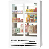 Beverage Air LV15-1-W-54-HD-LED White LumaVue 4 Hinged Glass Door Refrigerated Pass-Through Merchandiser - 15 Cu. Ft.