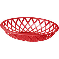 Tablecraft 1072R 9 inch x 7 1/2 inch x 2 inch Red Oval Plastic Fast Food Basket - 12/Pack