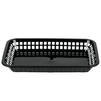 Tablecraft 1077BK Grande 10 3/4 inch x 7 3/4 inch x 1 1/2 inch Black Rectangular Plastic Fast Food Basket   - 12/Pack