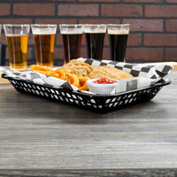 Tablecraft 1077BK Grande 10 3/4 inch x 7 3/4 inch x 1 1/2 inch Black Rectangular Plastic Fast Food Basket - 12/Pack