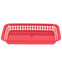Tablecraft 1077R Grande 10 3/4 inch x 7 3/4 inch x 1 1/2 inch Red Rectangular Plastic Fast Food Basket   - 12/Pack