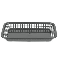 Tablecraft 1077GM Grande 10 3/4 inch x 7 3/4 inch x 1 1/2 inch Gunmetal Rectangular Plastic Fast Food Basket   - 12/Pack