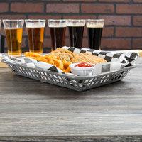 Tablecraft 1077GM Grande 10 3/4 inch x 7 3/4 inch x 1 1/2 inch Gunmetal Rectangular Plastic Fast Food Basket - 12/Pack