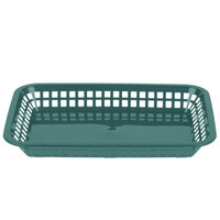 Tablecraft 1077FG Grande 10 3/4 inch x 7 3/4 inch x 1 1/2 inch Forest Green Rectangular Plastic Fast Food Basket   - 12/Pack
