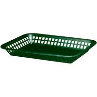Tablecraft 1077FG Grande 10 3/4 inch x 7 3/4 inch x 1 1/2 inch Forest Green Rectangular Plastic Fast Food Basket - 12/Pack
